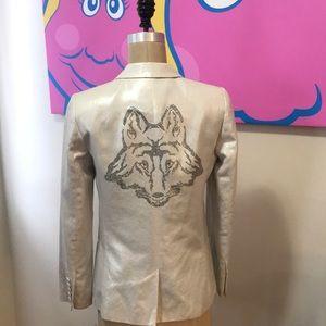 Zadig & Voltaire Ivory Linen Cotton Foxy Blazer